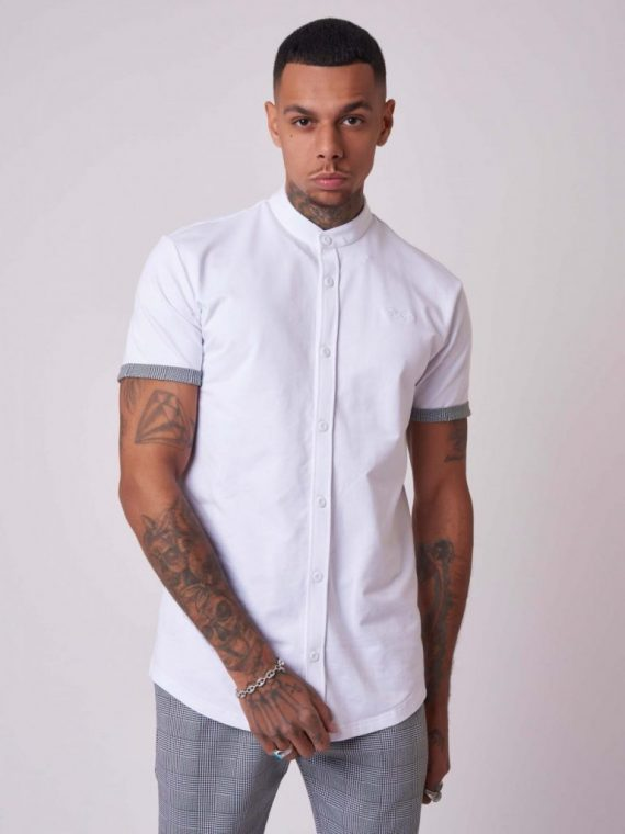 Chemise col mao manches courtes basic