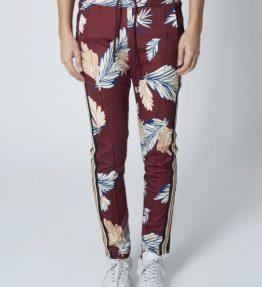 Pantalon de jogging imprimé feuilles bandes