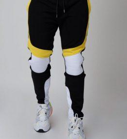 Pantalon de jogging velvet et fluo empiècement biker