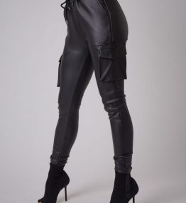 Pantalon poches côtées simili cuir