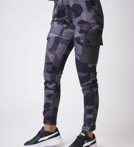 Pantalon style cargo biker motif camouflage