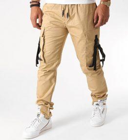 Pantalon cargo sangles beige