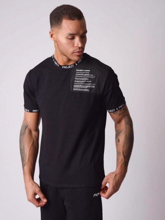 Tee-shirt empiècement ton sur ton nylon