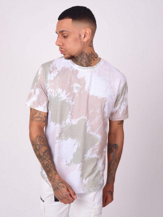 Tee-shirt motif effet peinture abstrait