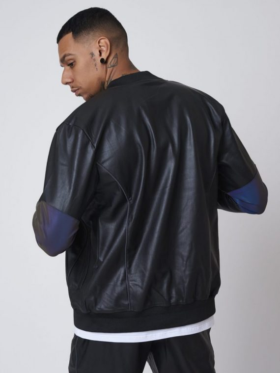 Veste simili cuir avec empiècement réfléchissant