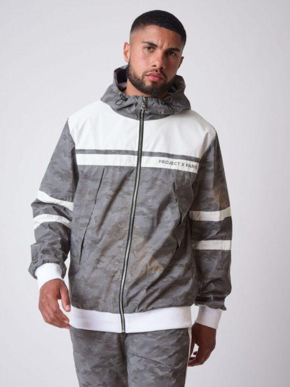 """Veste à capuche bi-matière réfléchissante avec motif camouflage """"CAMO REFLECT"""""""