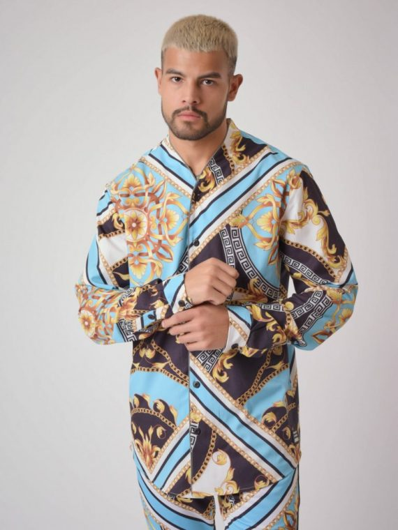 """Chemise col ouvert manches longues motif baroque """"Baba Collab"""""""