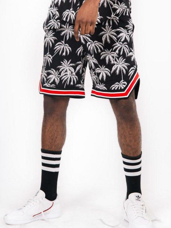 Short palmiers bandes noir blanc