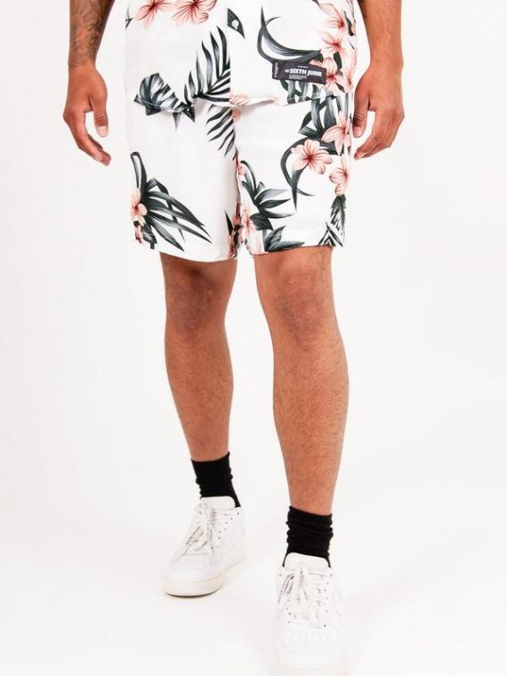 Short imprimé fleur tropical blanc